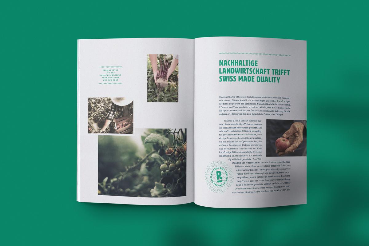 """Doppelseite aus einer Informationsbroschüre mit der Headline """"Nachhaltige Landwirtschaft trifft Swiss Made Quality"""" vor grünem Hintergrund"""